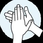 Produkt zwischen den Händen verreiben.