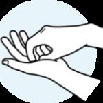 Fingerkuppen an der Handfläche kreisen.